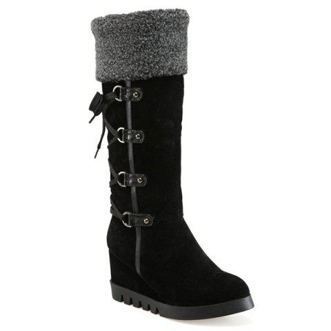 Shop Wedge Heel Faux Shearling Mid Calf Boots BLACK 39