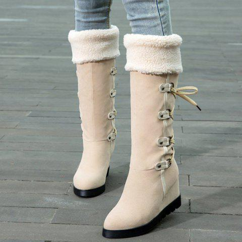 Chic Wedge Heel Faux Shearling Mid Calf Boots - 38 APRICOT Mobile