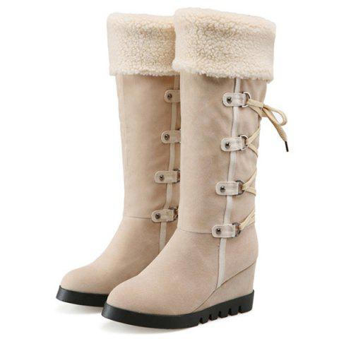 Affordable Wedge Heel Faux Shearling Mid Calf Boots - 38 APRICOT Mobile
