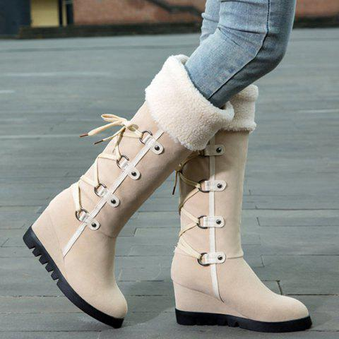 Discount Wedge Heel Faux Shearling Mid Calf Boots - 38 APRICOT Mobile