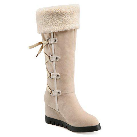 Unique Wedge Heel Faux Shearling Mid Calf Boots - 38 APRICOT Mobile