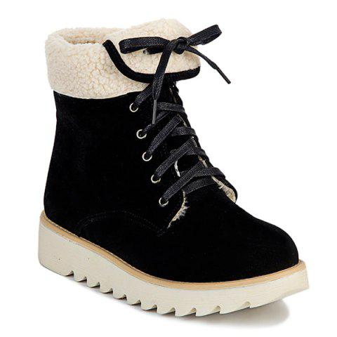 Lace Up Faux Shearling Panel Short Boots - Black - 37