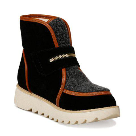 Outfits Faux Shearling Panel Zip Embellished Short Boots