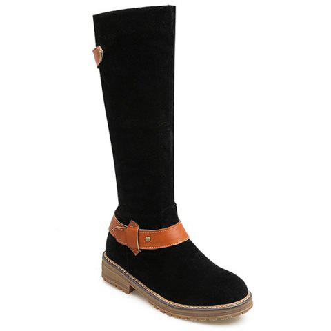 Latest Low Heel PU Strap Mid Calf Boots
