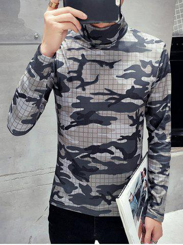 Cheap Long Sleeve Roll Neck Camo Tee