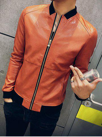 Zipper Up Stand Collar PU Leather Jacket - JACINTH M