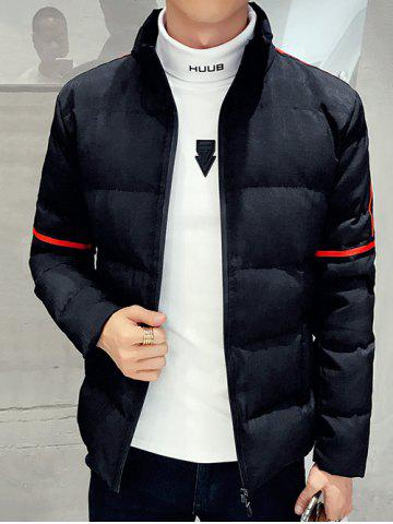 Shop Zip Up Stand Collar Striped Quilted Jacket