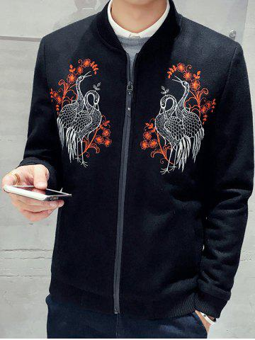 Sale Stand Collar Zip Up Bird Embroidery Jacket BLACK 2XL