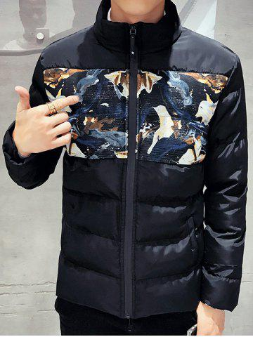 Chic Zip Up Floral Printed Quilted Jacket