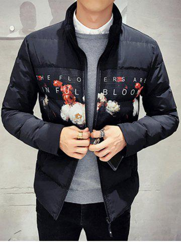 Fashion Zip Up Flower Printed Quilted Jacket