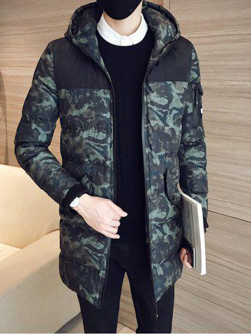 Latest Quilted Zip Up Camouflage Hooded Coat