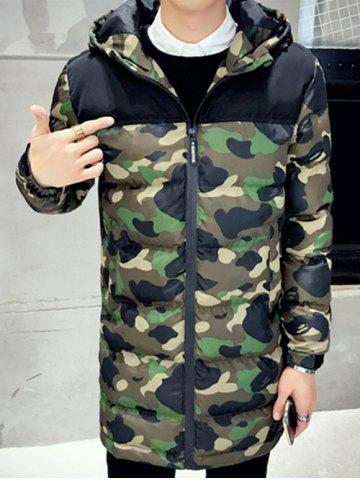 Hot Quilted Zipper Up Camo Hooded Coat