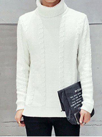 Buy Long Sleeve Turtleneck Cable Knit Sweater WHITE 2XL
