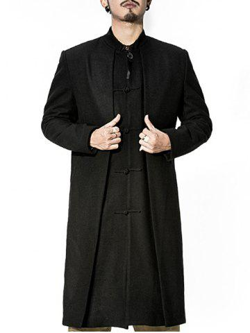 Best Stand Collar Frog Button Longline Layered Coat