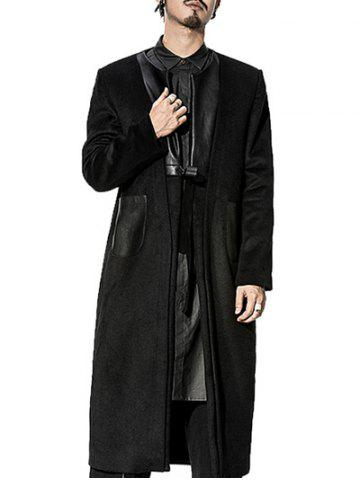 Store Patch Pocket Faux Leather Insert Tie Front Coat