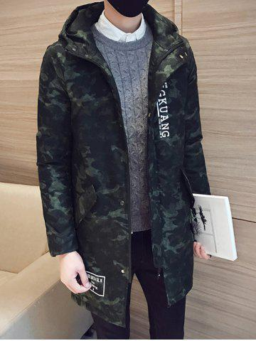 Camo Zip Up Pocket Hooded Padded Coat - Army Green - M