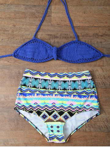 Trendy Crochet High Rise Halter Bikini Set