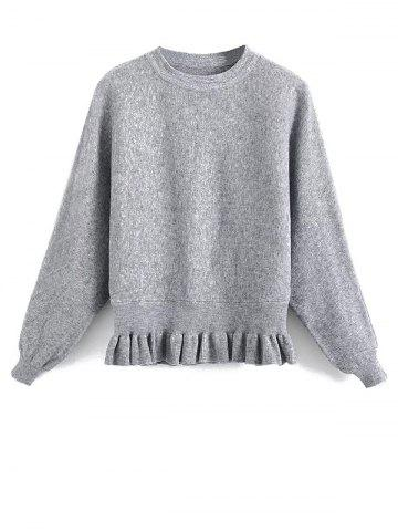 Affordable Ruffled Batwing Sleeve Sweater