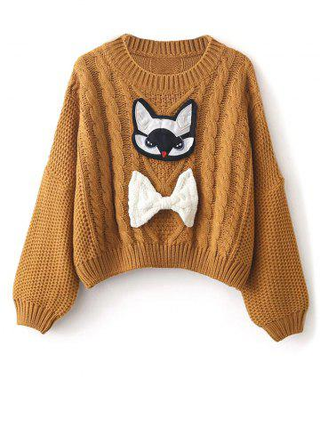 Cheap Patched Puffed Sleeve Cable Knit Sweater