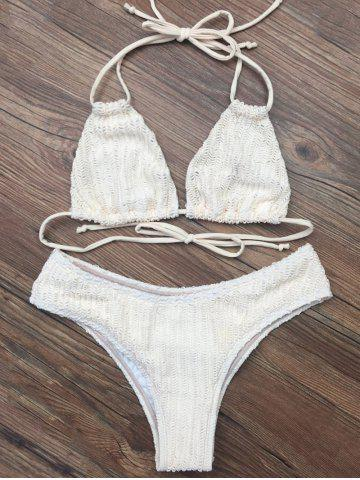 Tie Back Plunge Bikini Set - Crystal Cream - M
