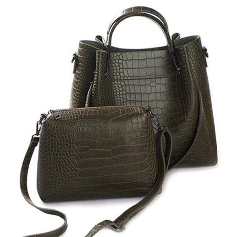 Sale Embossed Metal PU Leather Tote Bag ARMY GREEN