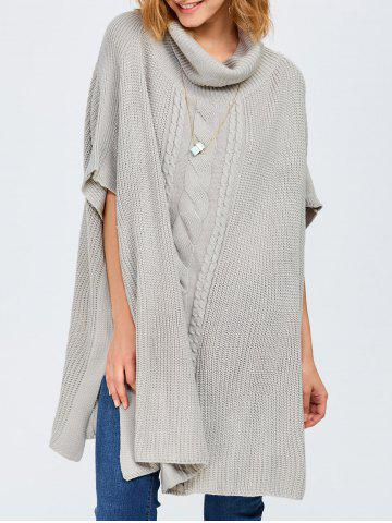 Chic Chunky Cable Knit Batwing Sleeves Sweater LIGHT GRAY ONE SIZE