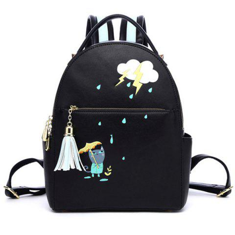 Outfit PU Leather Cartoon Print Tassel Backpack