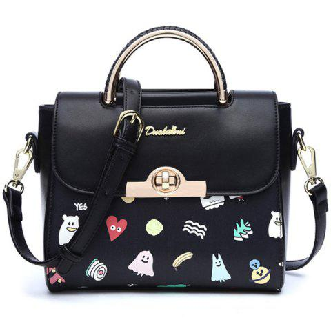 Best Metallic Hasp Cartoon Printed Handbag
