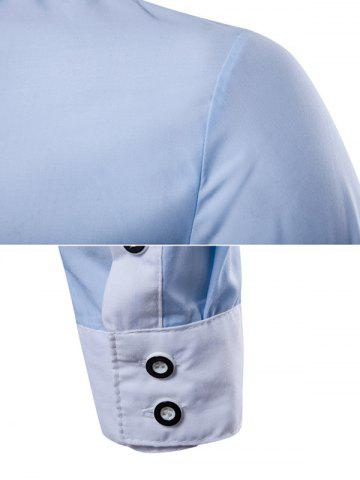 New Contrast Collar Back Pleat Button Down Shirt - L BLUE Mobile