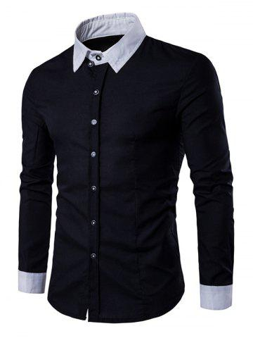 Store Contrast Collar Back Pleat Button Down Shirt - XL BLACK Mobile