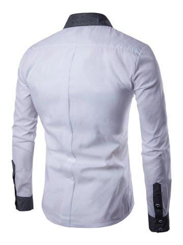 Hot Contrast Collar Back Pleat Button Down Shirt - XL WHITE Mobile