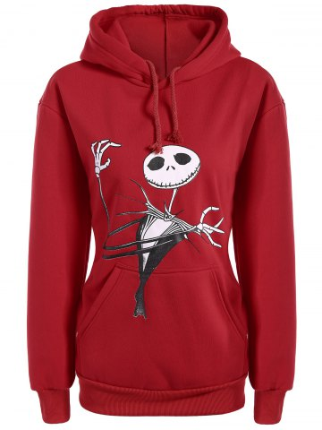 Online Plus Size Halloween Ghost Print Graphic Hoodie - L RED Mobile