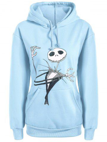 Affordable Plus Size Halloween Ghost Print Graphic Hoodie - 2XL LIGHT BLUE Mobile