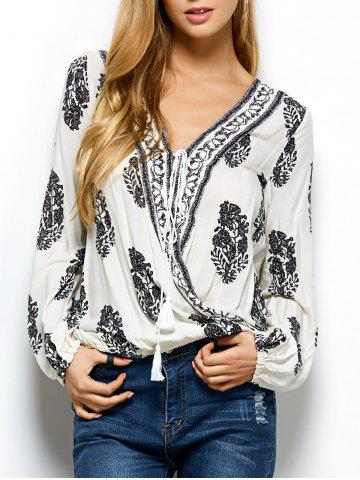 Retro Print Wrap V Neck Blouse - White - 2xl