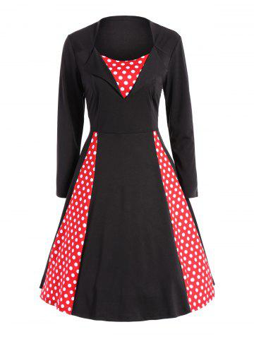 Store Polka Dot Panel Vintage Swing Dress BLACK AND RED 2XL