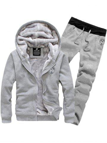Sale Applique Zip Up Flocking Hoodie and Pants Twinset GRAY 3XL