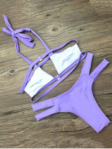 Outfit Strappy Cut Out Bikini - S PURPLE Mobile