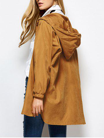 Hooded Zippered Loose Coat - Camel - M