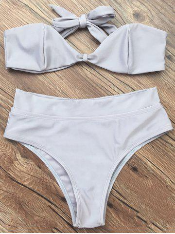 Online Bandeau High Waisted Thong Bikini - L GRAY Mobile