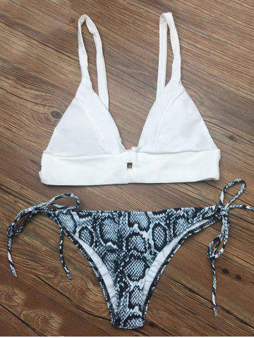 Chic Cami Abstract Print String Bikini Set WHITE M
