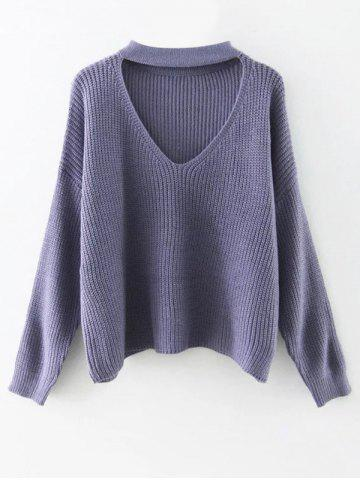 Fancy Cut Out Choker Sweater