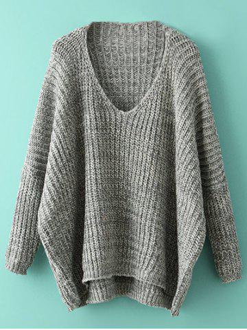 Fancy Oversized Batwing Sweater GRAY ONE SIZE