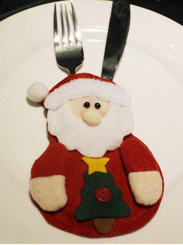 Christmas Party Table Decor Santa Claus Forks Tableware Cover Bag - RED
