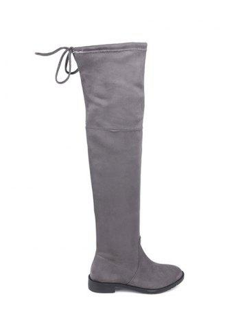 Sale Flat Heel Suede Over The Knee Boots