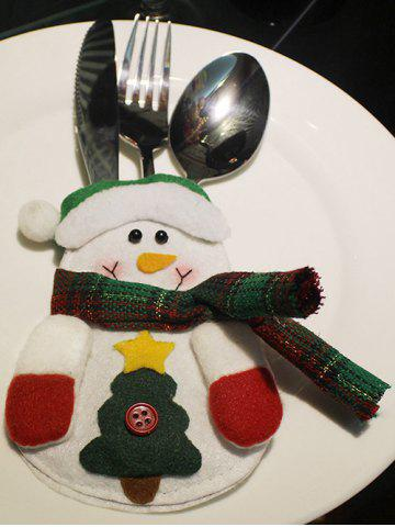 Shops Christmas Snowman Knives Forks Cover Bag Table Decoration WHITE