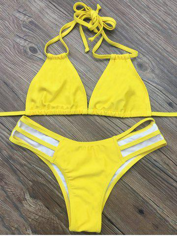Outfit Strappy Halter Plunge Bikini - L YELLOW Mobile