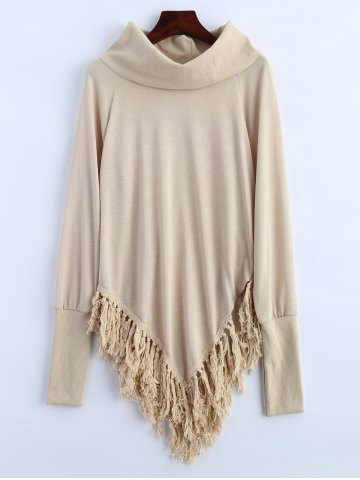 Turtleneck Tassel Asymmetric Sweater - Apricot - L