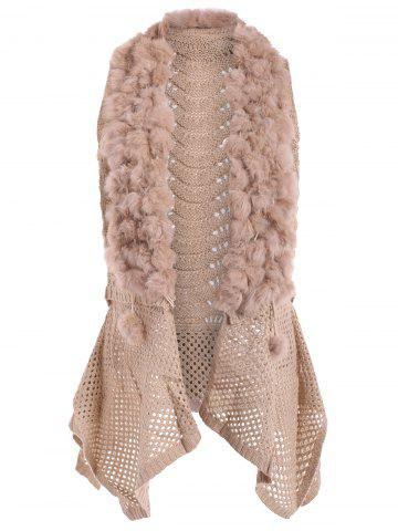 Open Front Faux Fur Embellished Sleeveless Cardigan - Apricot - One Size