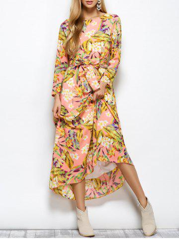 Trendy Round Neck Floral Belted Maxi Dress