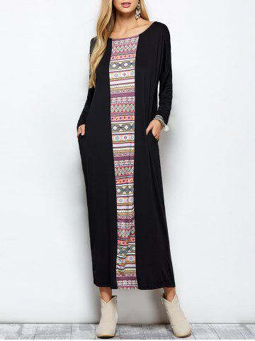 Dolman Sleeve Long Tribal Print Shift Maxi Dress - Black - S